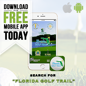 Graphic promoting Florida Golf Trail, a free mobile app